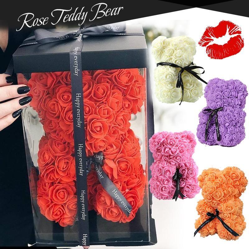 인형 25cm 로맨틱 중국어 발렌타인 선물 장미 꽃 곰 크리 에이 티브 큰 포옹 곰 크리스마스 선물