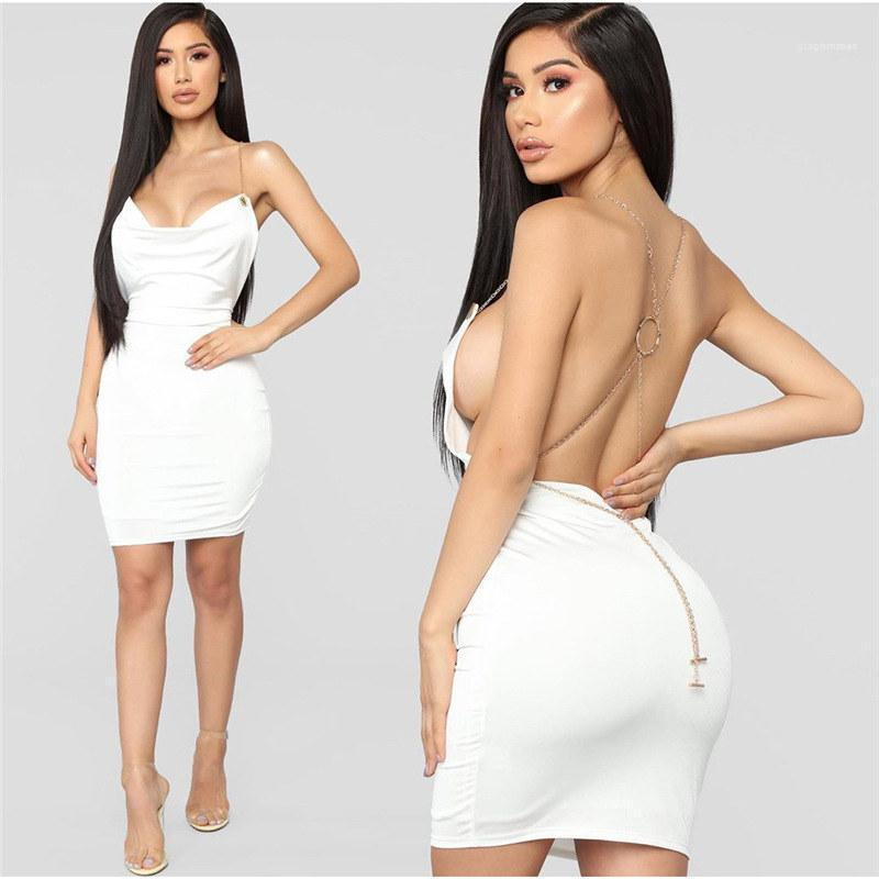 Nachtclub-Art-Kleid Kette Riemen Backless Solid Color-dünnes Kleid Famale Sommer Mode Kleidung Damen Sexy