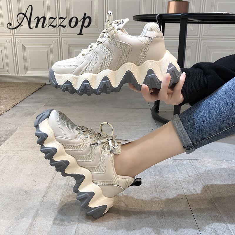 20 damas deportes de aumento de alta calidad de la moda zapatos casuales de primavera y otoño de fondo grueso transpirable zapatos corrientes de las mujeres salvajes