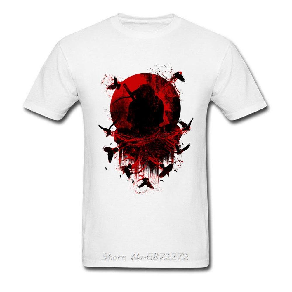 T-shirt Ninja d'été des hommes T-shirts Uchiha Itachi Blood Moon T-shirts Coton Japon Anime Naruto T-shirt