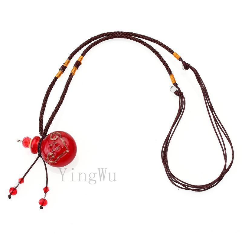Anhänger Halsketten Yingwu Rote Lampwork Glas Flasche Halskette Parfüm Essential Öl Diffusor Handmade