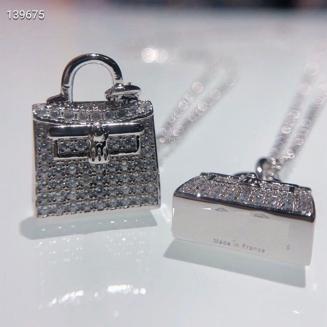 Nova saco com colar de diamantes clavícula cadeia feminina com diamantes simples net vermelho All-match jóias de prata esterlina