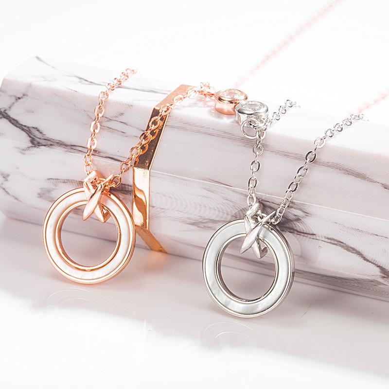 S925 anel de prata esterlina moda colar de prata esterlina branco mãe-de-pérola círculo pingente de colar clavícula cadeia anel das mulheres