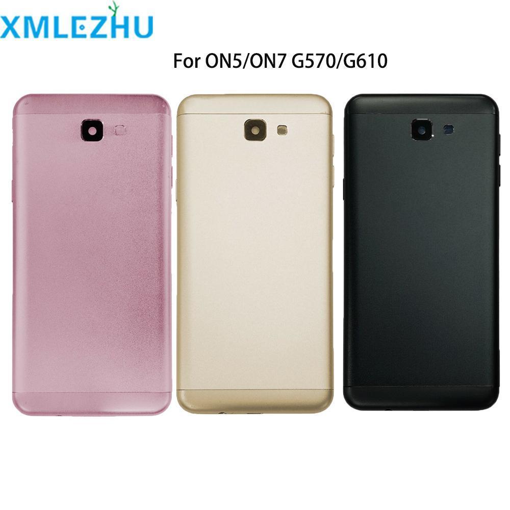 Cgjxs 10pcs Galaxy J5 para Samsung Primer on5 ON7 2016 G570 G610 cubierta de la cubierta de la batería del caso de la puerta trasera del chasis Shell