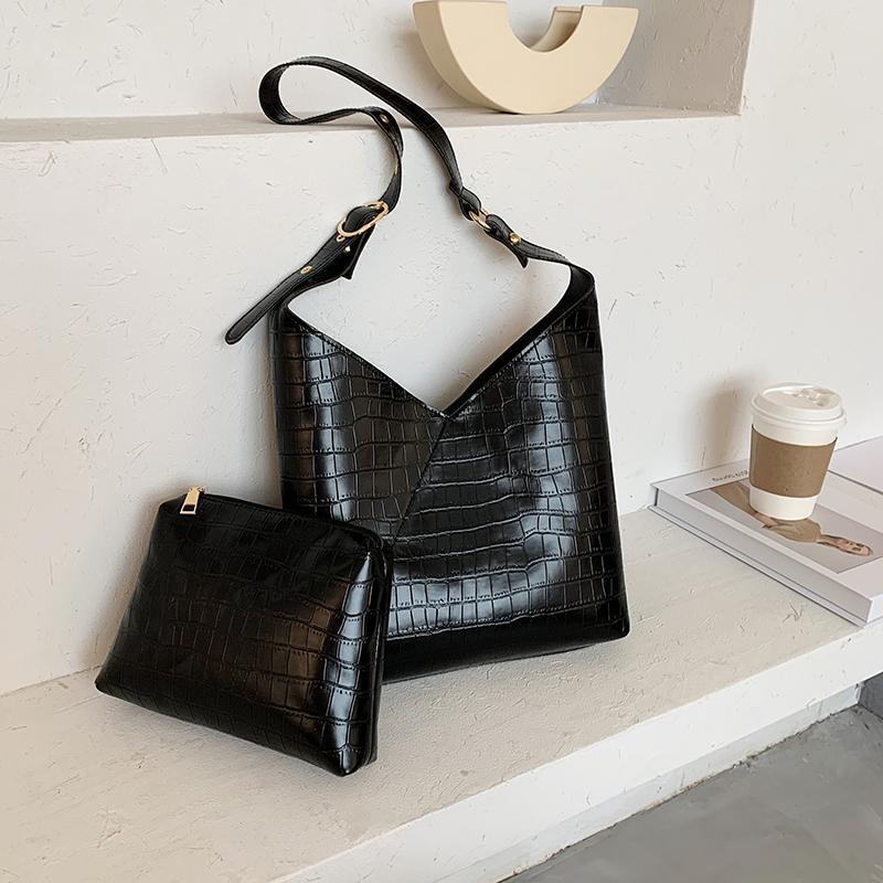 [BXX] Pietra modello PU borse a spalla in pelle per le donne 2020 Lady Borsello femminile solido di colore Borse Bucket Bag HN810