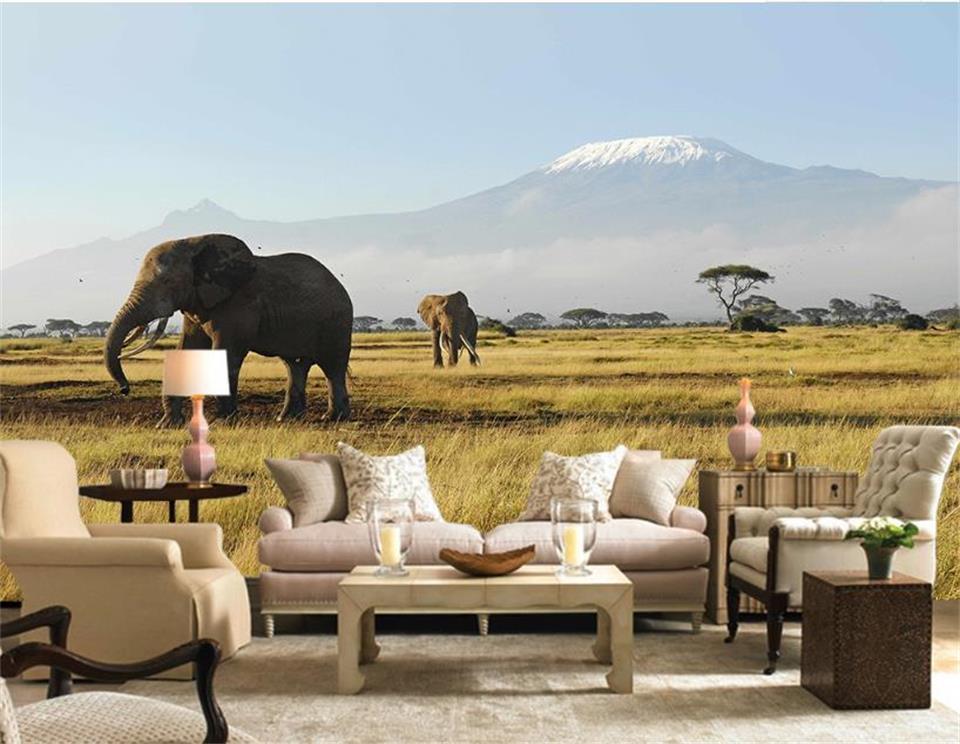personalizzato 3d photo carta da parati soggiorno murale pascolo elefante panorama immagine pittura divano TV sfondo sfondo adesivo non tessuto a parete