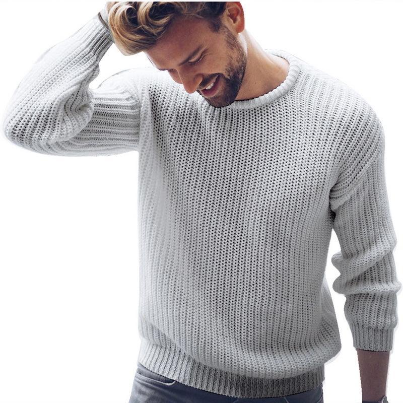 2019 Otoño Nueva Marca punto de los hombres Pullover O ocasional sólida suéteres de cuello de puente: Hombre de punto estilo de ropa coreana más CX200818 Tamaño