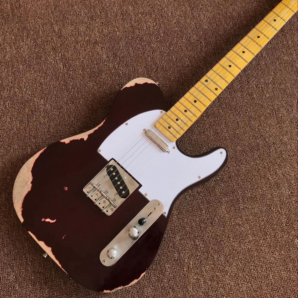 заказ магазин, TEL 6 строк Maple гриф электрической гитара, реликвии руками guitarra.real фото