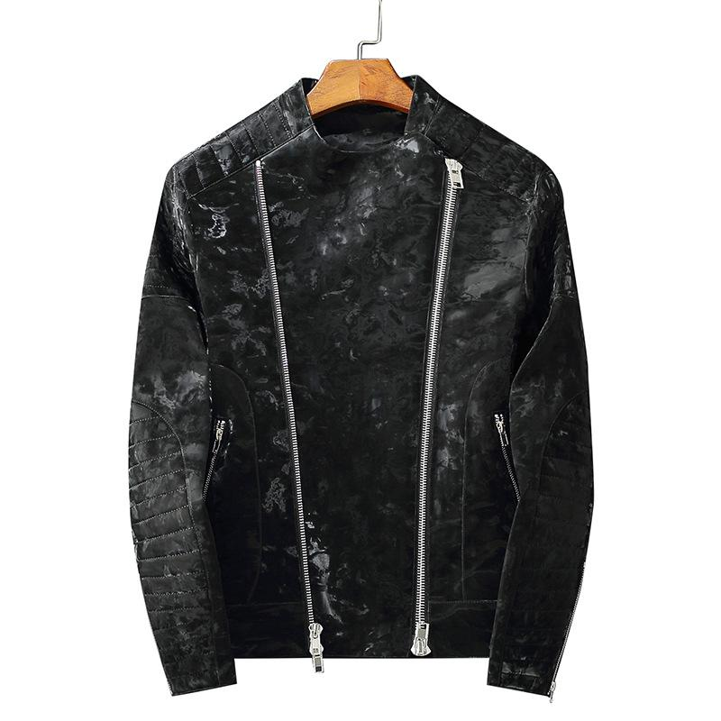 2020 New couro da motocicleta zipper padrão do desenhista jaqueta escura dos homens PU jaqueta de couro dos homens tamanho tendência S-3XL atacado