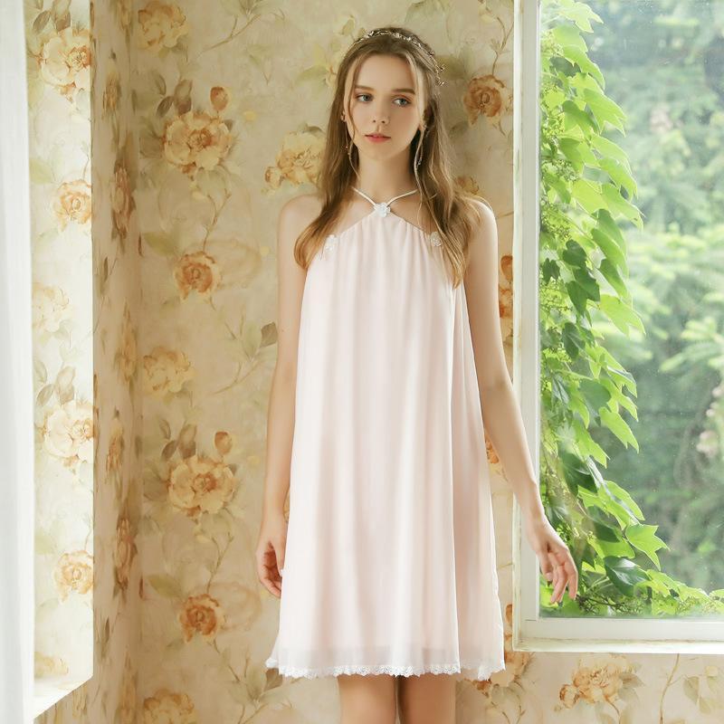 Kadın Pijama Roseheart Kadınlar Homewear Pembe Seksi Gece Elbise Modal Mesh Backless Gecelikler Mini Gecelik Lüks