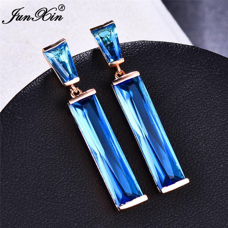 Jóias de casamento de luxo Feminino Blue Stone Brincos Moda Cor Prata Rose Gold Vintage longo Dangle Brincos para Mulheres