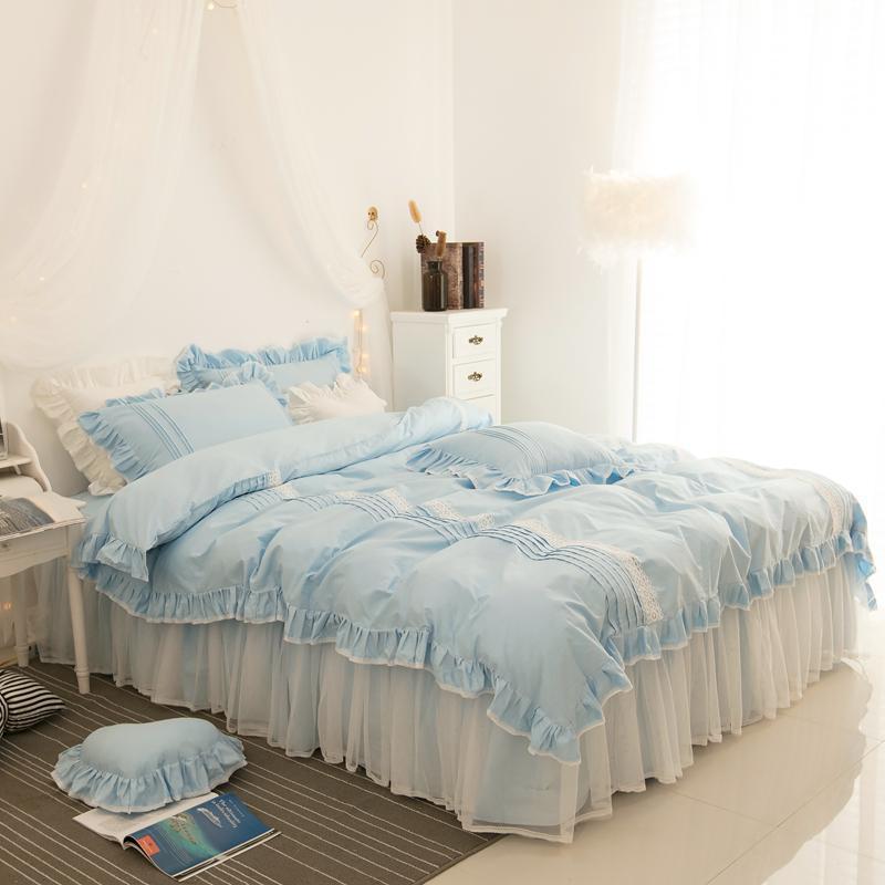 Pembe, mavi lüks pamuk dantel prenses yatak kore tarzı nevresim beddingset yatak etek seti ikiz kraliçe kral kız ayarlamak