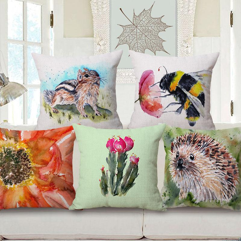 Pittura ad acquerello Animali cuscini Hedgehog Bee Squirrel Fiori Cuscino Copricuscino Cotone Lino decorativo