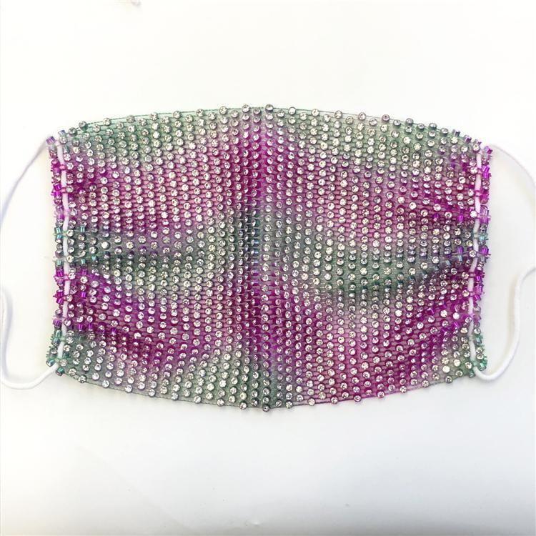 Máscaras manera del diamante Bling tendencia Discoteca Bar Rhinestones reutilizable lavable Red de pesca de la mascarilla Dhf711