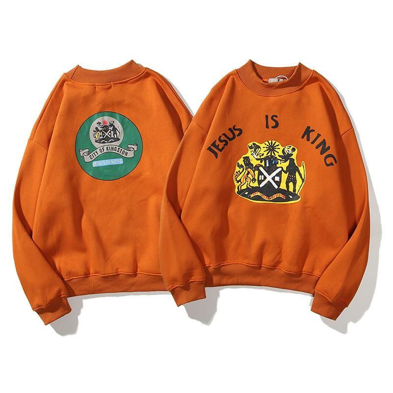 La chaqueta con capucha de alta calidad suelta hip-hop Kanye mujeres de los hombres suéter de jersey de algodón blanco marca la marea de impresión de manga larga M-3XL C