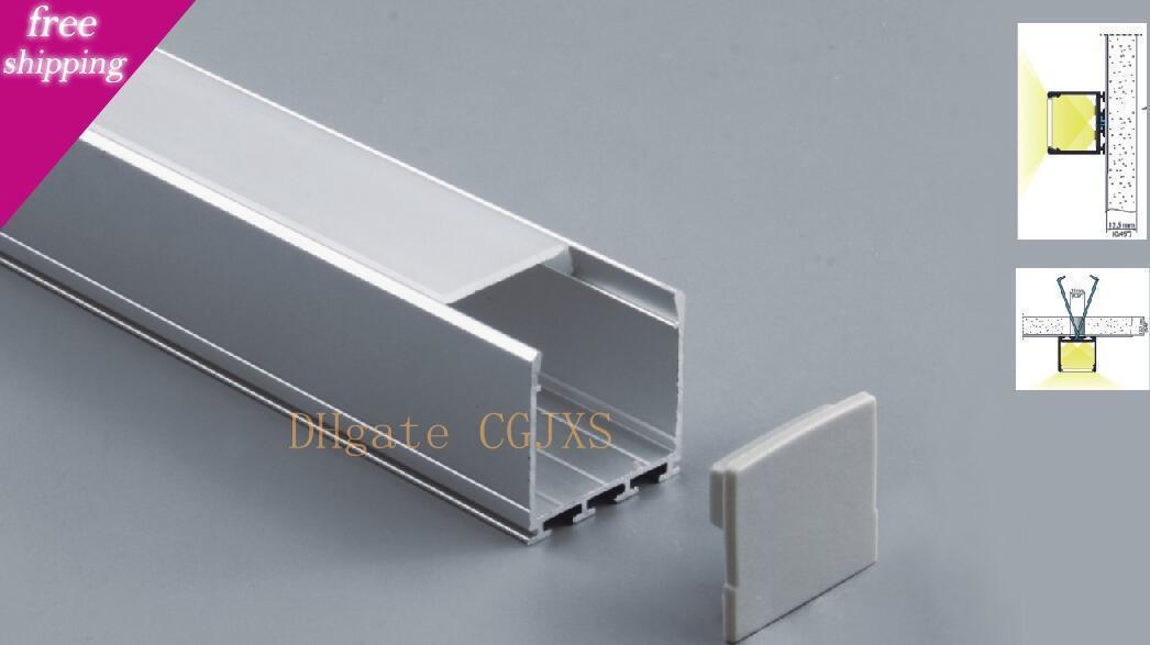 El envío libre 50pcs / Lot, 2m / 80inch; Cuadrado luz del gabinete de barra de luces del perfil con la cubierta para la tira llevada rígida