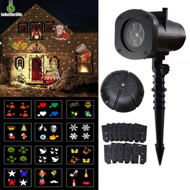 12 Pattern Laser Projector Outdoor Waterproof LED Snowflake Christmas Lamp Landscape Halloween Party Projector Lights Xmas Decoration