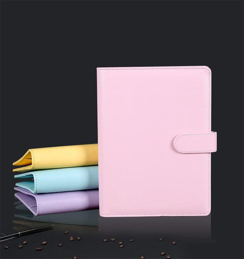 5 Styles Creative Macaron Color Notebook Leather Case Multi-function Diary Handbook Ring Binder Simple Portable Notebook Cover case