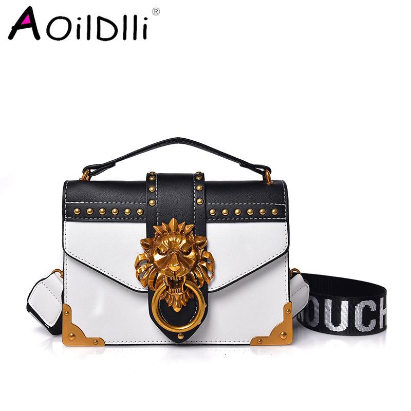 Moda Paketi Omuz Çantası Crossbody Paketi Metal Lion Baş Mini Küçük Kare Debriyaj Kadınlar Tasarımcı Cüzdan Çanta Bolsos Mujer