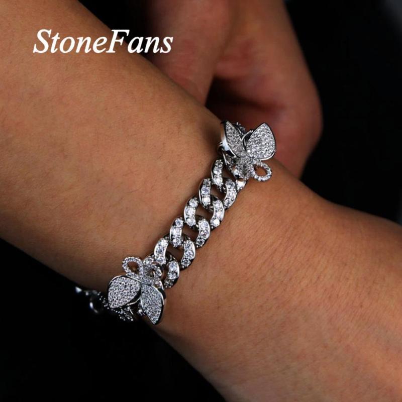 Stonefans Cuban link ghiacciato fuori il braccialetto farfalla monili all'ingrosso per le donne Hip Hop Jewelry Bling del braccialetto del Rhinestone farfalla