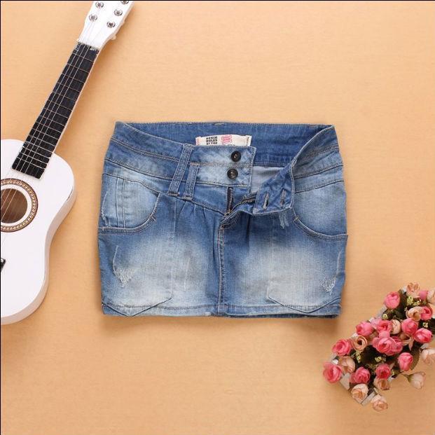 Verão mulheres de forma magro lavagem com água Uma linha branqueada mini-saia jeans fundo do sexo feminino moda vintage sexy jean algodão