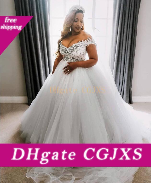 2020 Tamaño más vestidos de novia con moldeado atractivo del hombro Vestidos de Fiesta una línea de tul de novia Vestidos