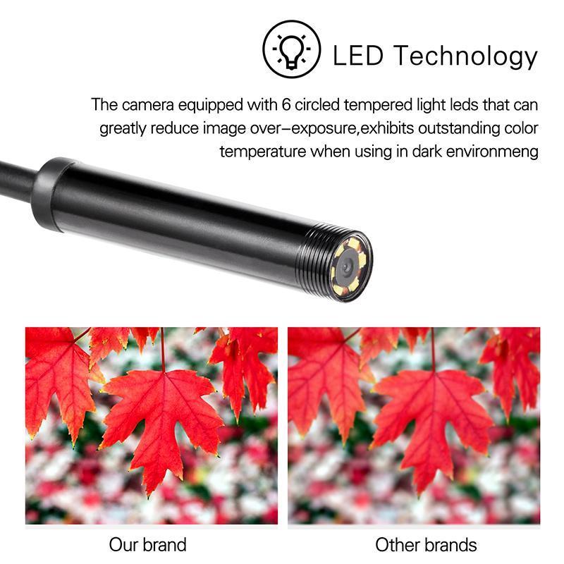 Endoscópio Camera flexível IP67 Waterproof 6 ajustável Inspeção Leds endoscópio Camera Micro USB OTG Type-C Para Pc Android