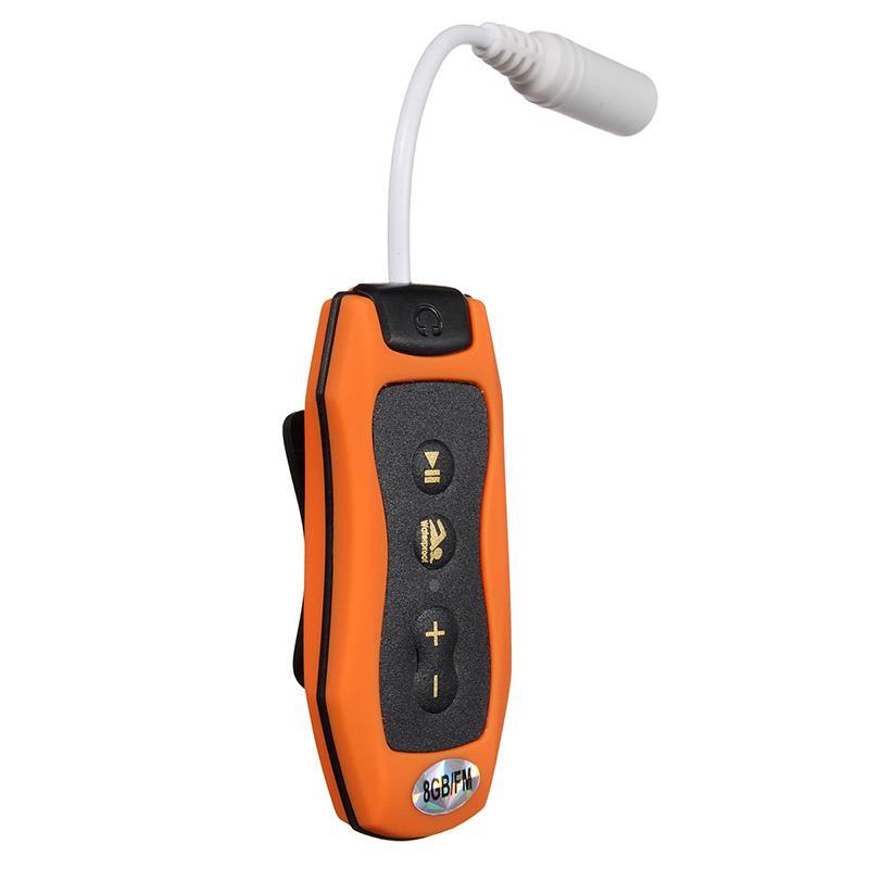 8GB MP3-Player Schwimmen Unterwassertauchen Spa + FM Radio Wasserdichte Kopfhörer Orange