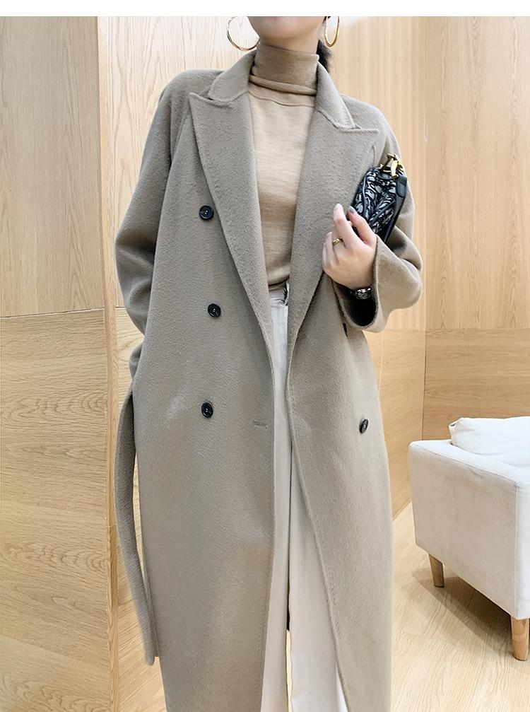2020 осень зима двухсторонняя шерсти куртки шерсти кашемир пальто шерстяной волны длина пальто двубортный пиджак