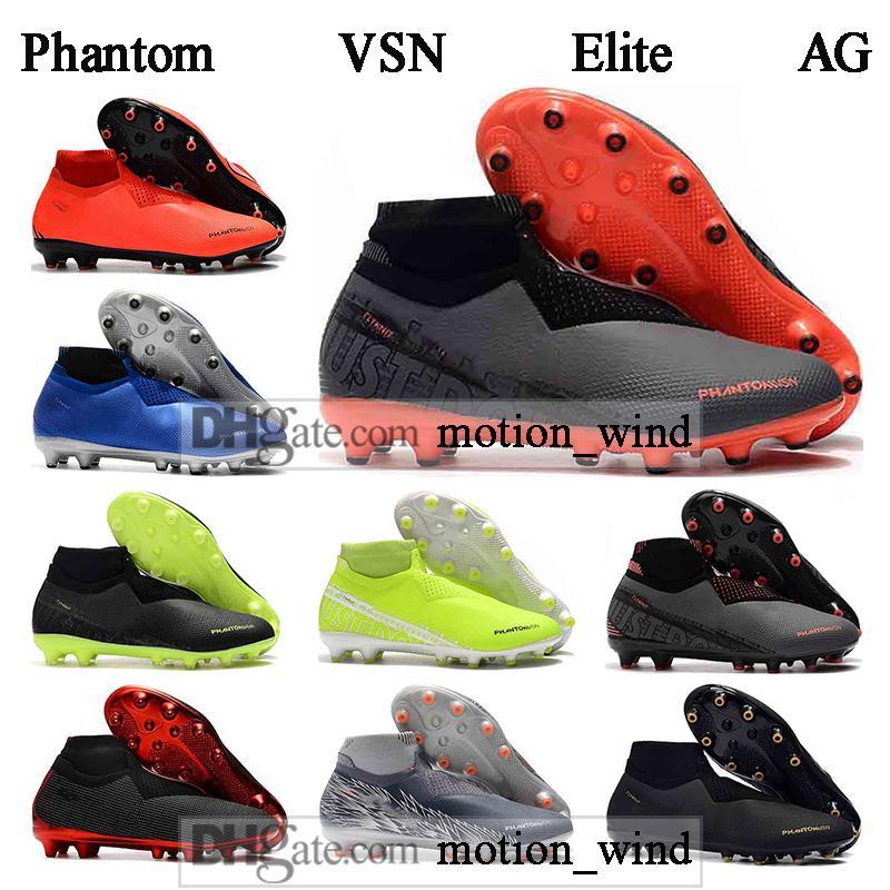 CADEAU SAC Mens haute cheville de football Bottes Phantom VSN Elite DF AG Chaussures de soccer Phantom Vision AG extérieur Football Crampons