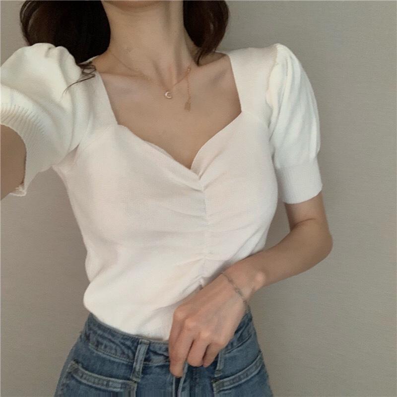 Kısacası 2020 nIDm4 yeni T- kadınların mini gömlek kollu V yaka pilili kabarcık kol mor büyük tişört Yaz kadınlar için ins
