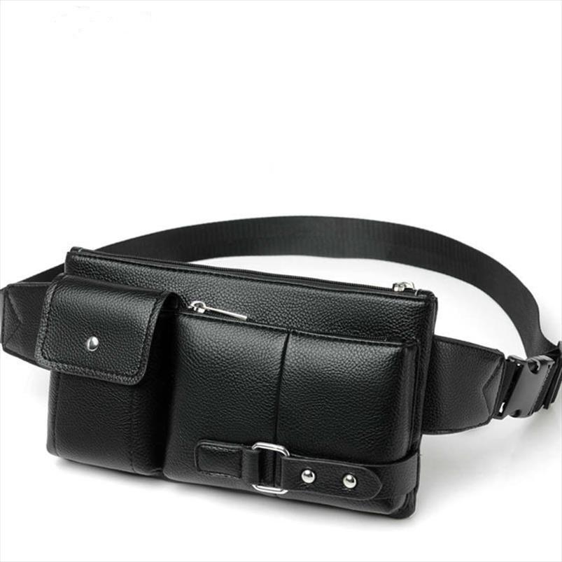 bolsa de cintura Mens clássico cor sólida PU bolsa de cintura de couro viagens de lazer ao ar livre bolsa pochete
