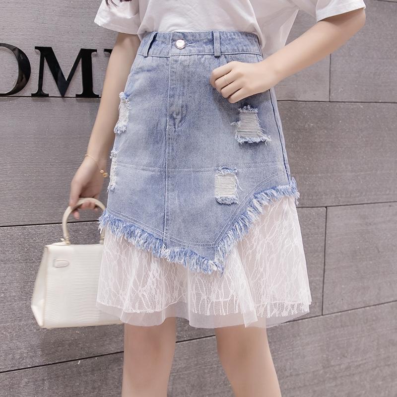 S-5XL skirtfat skirtDenim gonna di pizzo stile coreano delle donne del vestito gonna dimensioni mm ALINE Aline foro cuciture denim grande di media lunghezza zgYrt