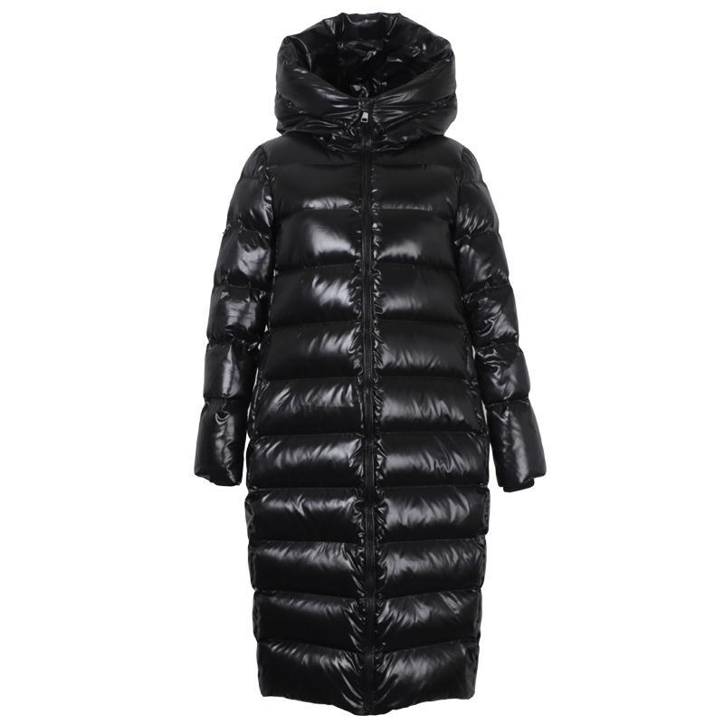 2020 Kış Yeni Kadın aşağı Ceket Parlak Siyah Orta Boy aşırı-Diz Moda Yastıklı Kış Ceket