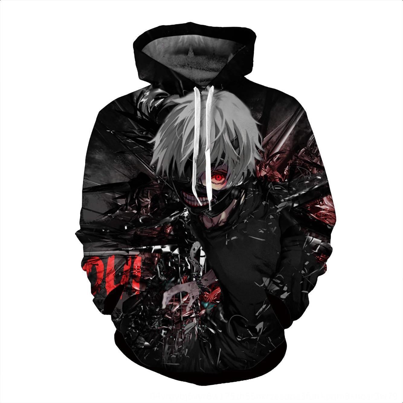 Kış Kazak Tokyo gulyabaniler anime kapüşonlu kapşonlu 3D baskılı erkek kazak erkek hoodie moda ymCjx