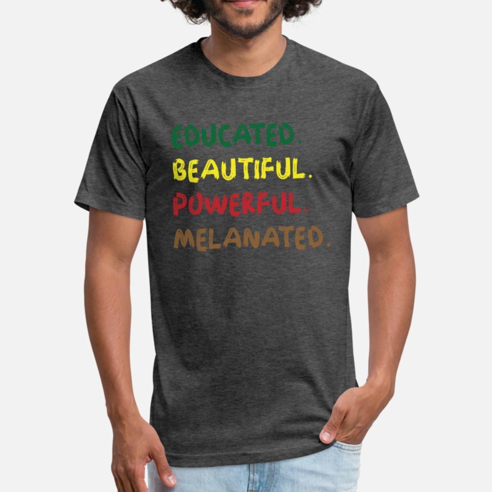 Меланин Образованной Красивой мощной Melanated тенниски мужчины персонализированного футболка S-3XL мужской Fit дышащего лето семьи рубашка