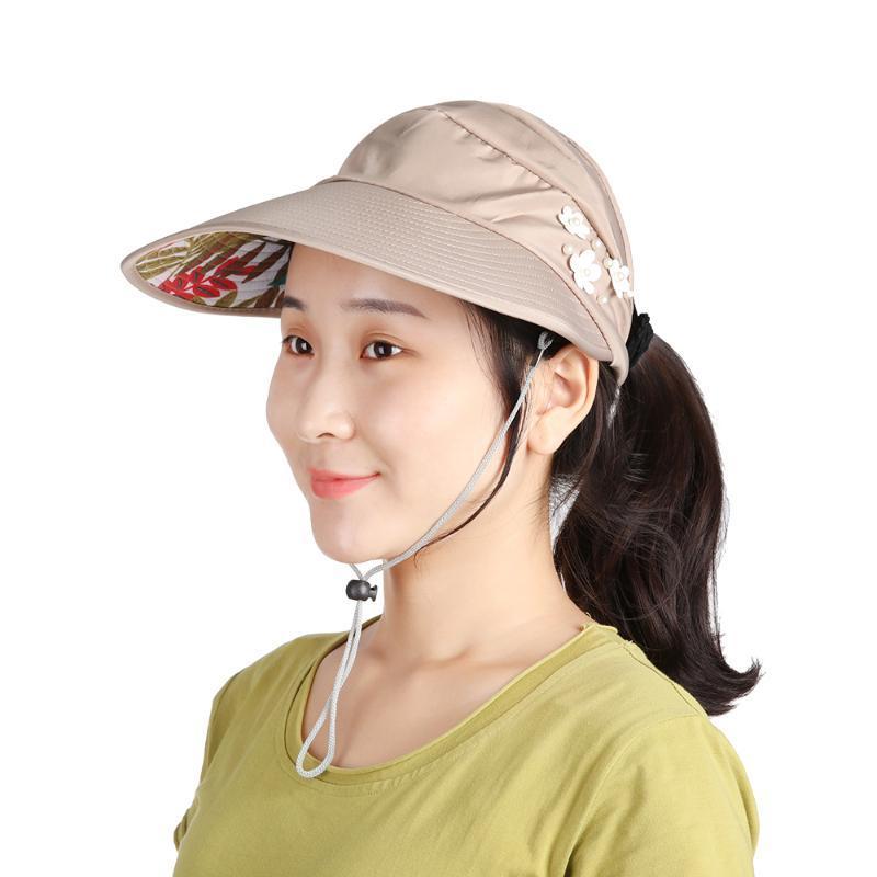 Ocasional preto Caps Womens Verão aba larga chapéu de sol Chapéus para mulheres viseiras chapéu de pesca Cap Proteção UV Praia Fisher