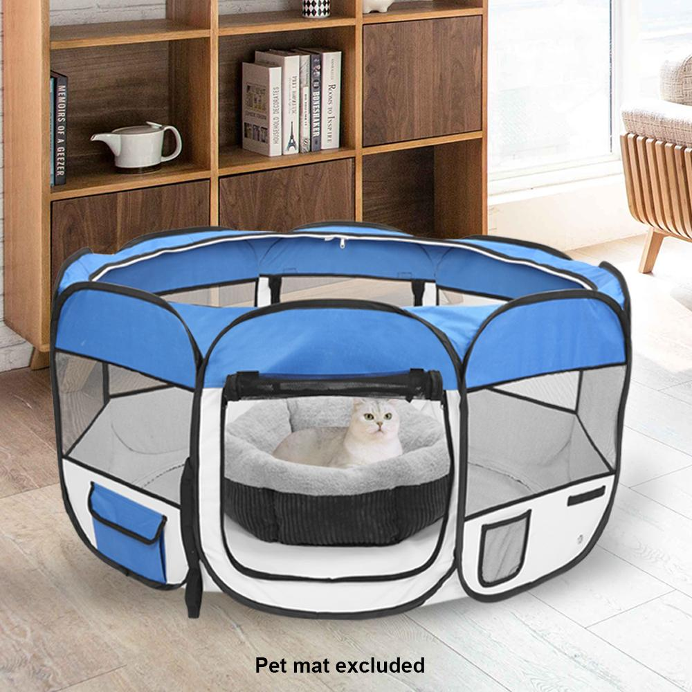 Portable Foldable 36inch 600D Oxford Cloth & Mesh Pet Playpen Fence with Eight Panels Pet Puppy Soft Tent Dog Cat Crate Blue