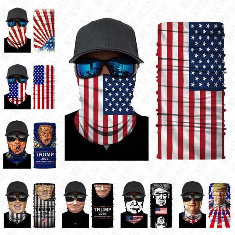 Mode Masque moitié foulard drapeau américain Trump imprimer bouche moufles bandeau voile foulard perméable à l'air extérieur masque de protection anti-poussière D xjOo #