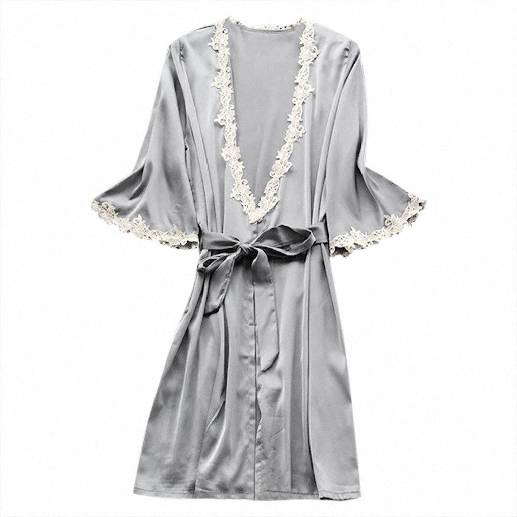 Les femmes sexy en satin de soie de nuit pyjamas Chemise de nuit Lingerie Sexy Pyjamas Robe Plus Size femmes peignoirs de bain pour Femme Robe de la #