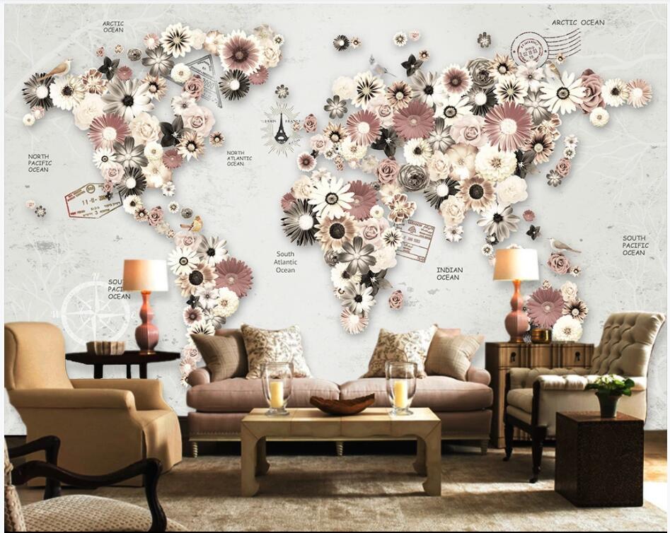 3D Wallpaper benutzerdefiniertes Foto Flowers Weltkarte tv Hintergrund Hauptdekor 3D Wandmalereien Tapete für Wände 3 d Wohnzimmer