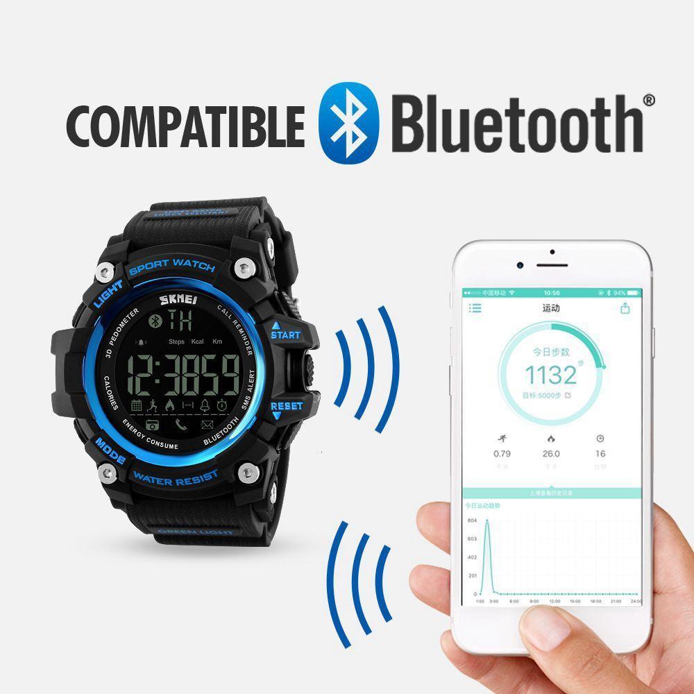 SKMEI inteligente reloj del deporte de los hombres de Bluetooth multifunción Fitn Relojes 5bar reloj digital resistente al agua Reloj LED RJ hombre 1227