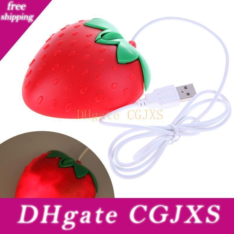 Novelty Strawberry Usb Optical Mouse ,Sweet Heart Shape Wired Usb Mouse Red Heart Cartoon Fruit Mouse For Computer Pc /Laptop Kids /Lovers G