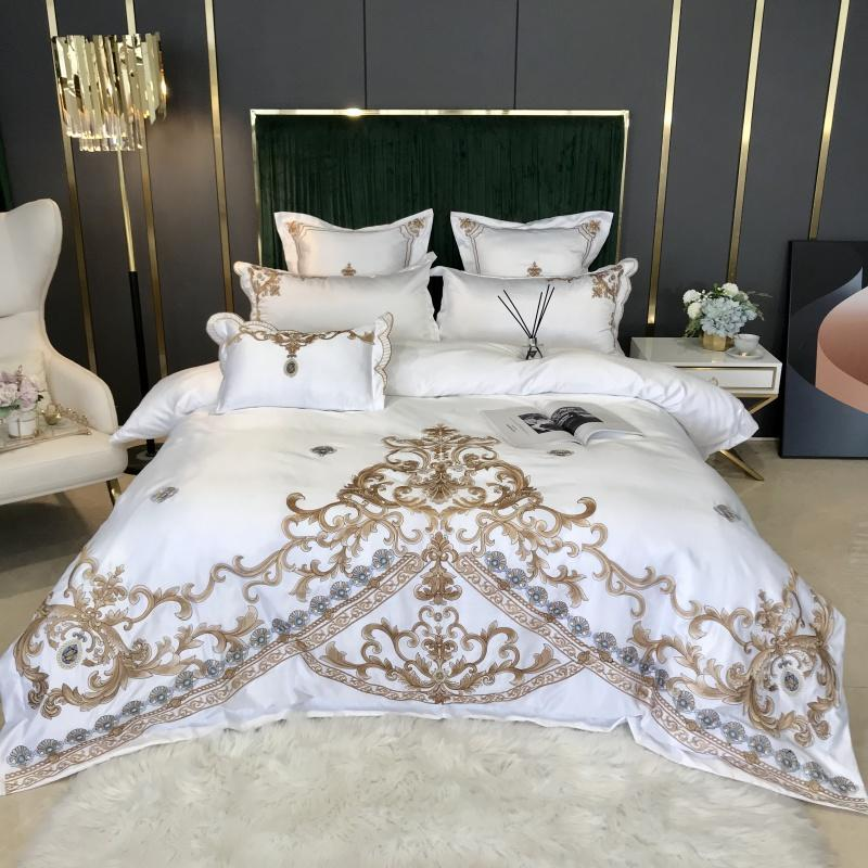 New White Luxury europeus Royal Gold Bordados 60S cetim de seda de algodão conjunto de cama edredon cobrir Lençois cabidos Fronhas Folha macia e sedosa