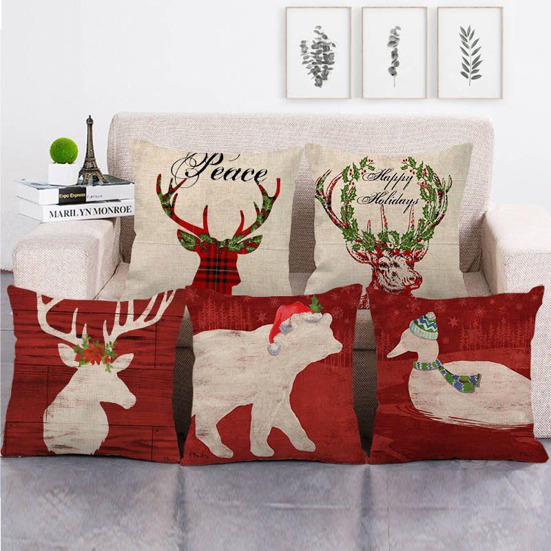 45см * 45см Рождественский олень дизайн белье / хлопок крышки бросить подушку дивана подушки крышки домашнего декора подушки