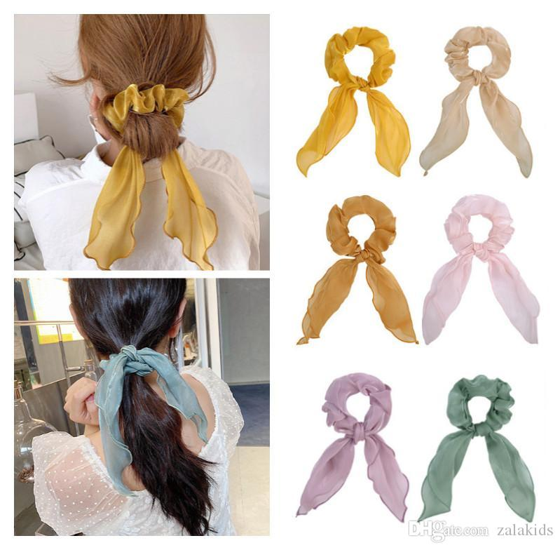 INS İpek Saç Scrunchies İçin Kadınlar Aksesuar Saç Bantları Kravatlar at kuyruğu Tutucu Lastik Halat Dekorasyon Uzun ilmek