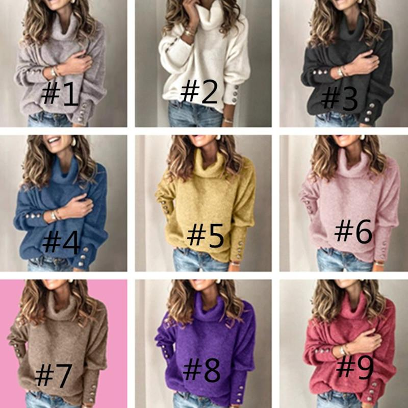 2020 Women High Collar Sweater Winter Warm Knit Knitting Sweaters Pullover Tops Fashion Casual Solid Colors Clothing Plus size S-5XL LY827