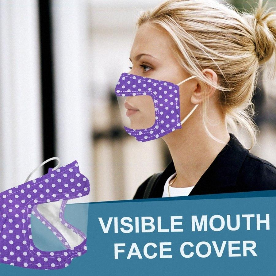 Deaf Mute face transparente Máscara Anti Poeira Earloop Reutilização Máscara Adulto exterior lavável Limpar Máscaras Designer DDA229 vNWm #