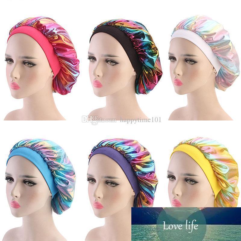 مسلم النساء على نطاق واسع تمتد الحرير الحرير تنفس باندانا النوم العمامة قبعة حك بونيه الكيماوي سقف اكسسوارات للشعر