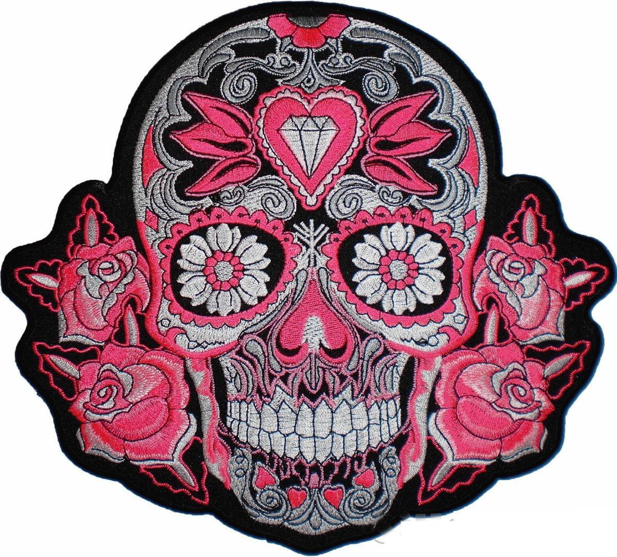 "Green Sugar Rose Diamond Skull Day Dead Muertos Giant Jacket Back Patch 9.5/"""